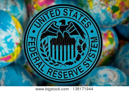 United States Federal Reserve System symbol (FED) on the globe background business and financial concept