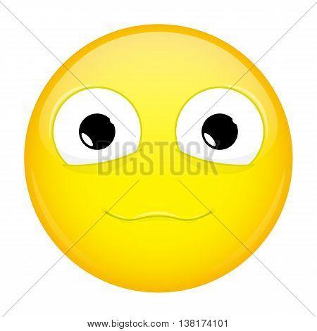 Сute smile emoji. Good emotion. Happy emoticon. Vector illustration smile icon.