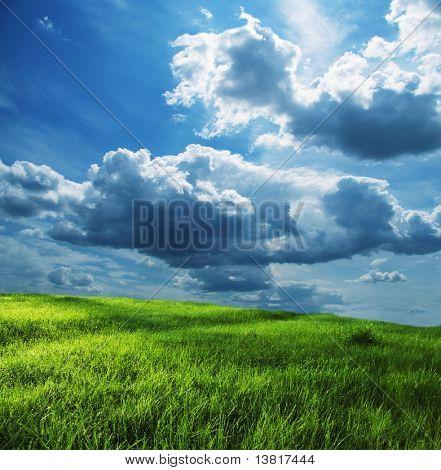 Prado verde y nube de tormenta