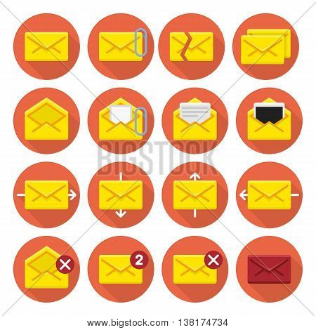 Mail icons. Vector E-mail icons with long shadows. Vector application Envelope, E-mail Icons set in flat style. E-mail icon set for an application interface.