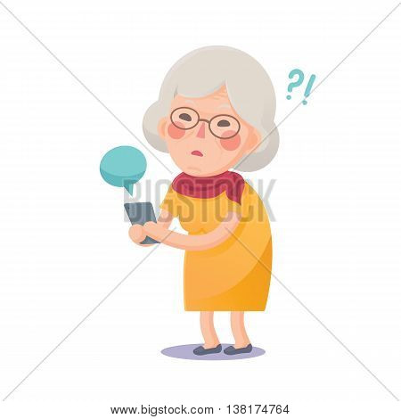 Vector Illustration of Confused Grandma Using Smart Phone Isolated  on White Background, Cute Cartoon Character
