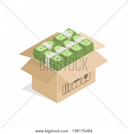Vector illustration of open Cardboard Box with pile of Dollar Bills. Cardboard box full of money illustration in isometry. Money saving concept.