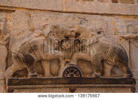 Jagdish Mandir Temple. Udaipur, India. Fragments Of Walls. The Images Of Elephants.