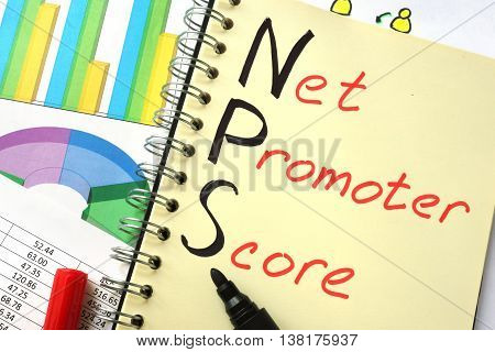 Notebook with  sign NPS net promoter score