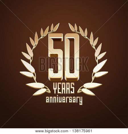50 years anniversary vector logo. 50th birthday age classic decoration design element sign emblem symbol with gold branch