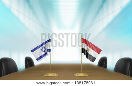 Israel and Egypt relations and trade deal talks, 3D rendering