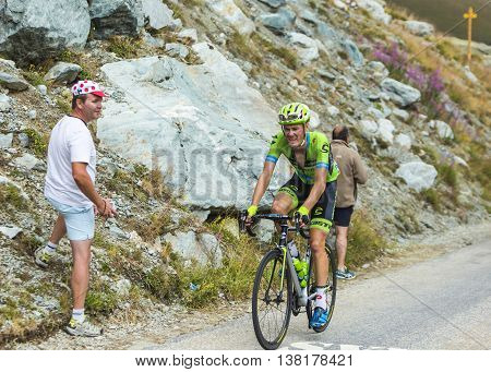 Col de la Croix de Fer France - 25 July 2015:The Dutch cyclist Dylan van Baarle of Cannondale-Garmin Team climbing to the Col de la Croix de Fer in Alps during the stage 20 of Le Tour de France 2015.