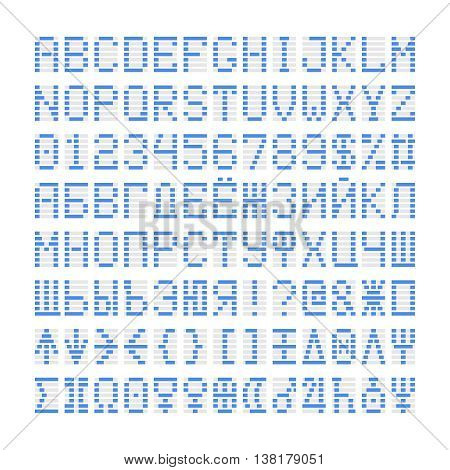 Blue digital font letters, numbers and planets plus cyrillic symbols. Blue alphabet on white.