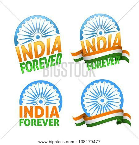 India forever four badges independence day. Patriotic holiday of freedom and democracy.