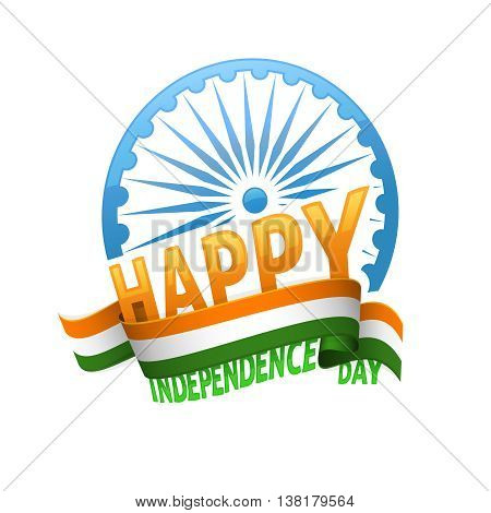India independence day badge 15th of august. Emblem for patriotic holiday of freedom and democracy.