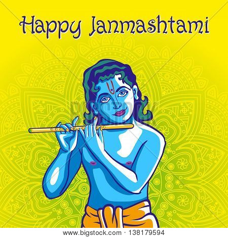 Hindu young god Lord Krishna. Happy janmashtami vector art poster