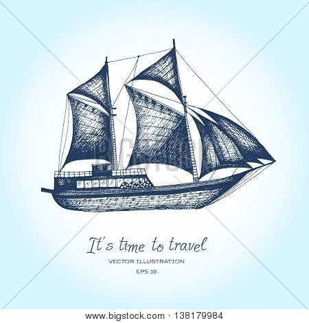 Ship vector design template. sailboat or frigate icon