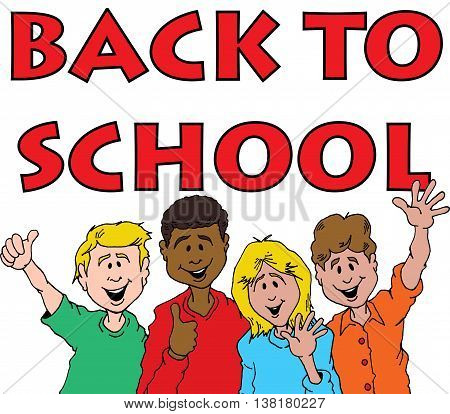 Cartoon of a Group of Children Celebrating Back To School