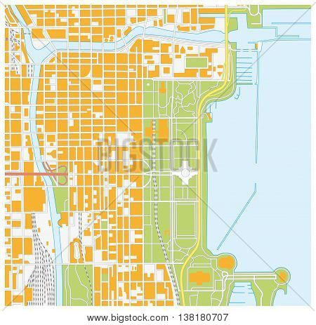 vector street map of downtown Chicago, Illinois