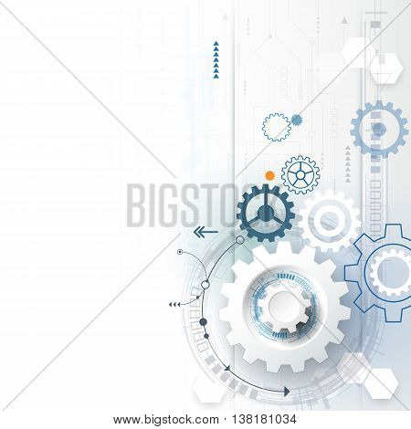 Vector illustration gear wheel hexagons circuit board. Abstract hi-tech technology and engineering background digital telecom futuristic concept. Abstract futuristic technology on light blue color background