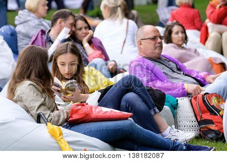 Moscow, Russia - June 4: Audience relax at International Jazz Festival Usadba Jazz in Archangelskoye Museum-Mansion on June 4, 2016 in Moscow