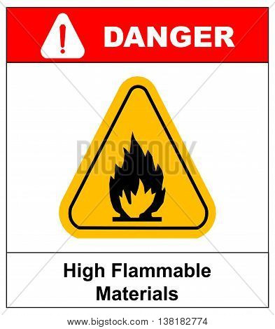 Fire warning sign in yellow triangle. High Flammable Materials, inflammable substances icon. Vector banner isolated on white. Danger exclamation point