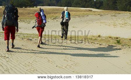 Tourists going up in trek