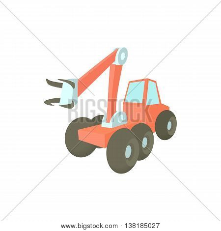 Forestry harvester icon in cartoon style on a white background