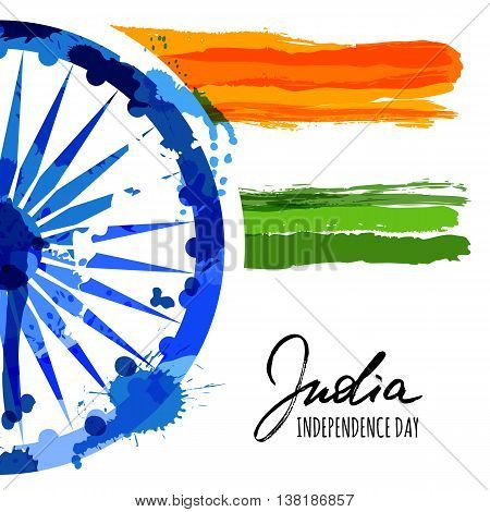 Vector watercolor illustration of India flag and hand drawn calligraphy. Holiday poster with ashoka wheel and indian flag. Design for banner or greeting cards. India Independence Day background.