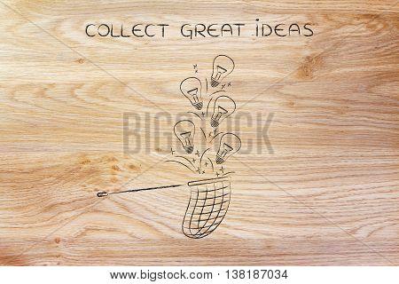 Collecting Lightbulbs (ideas) With A Net, Creativity Concept
