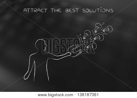 Person Attracting Lightbulbs (ideas) With Magnet, Creativity Concept