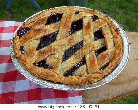 A blue berry pie that was baked in a pie pan in a out door fire pit.