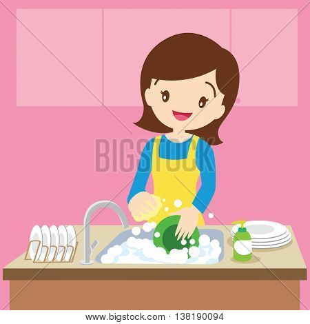 Vector of a woman washing dishes in kitchen.Woman washing dishes.