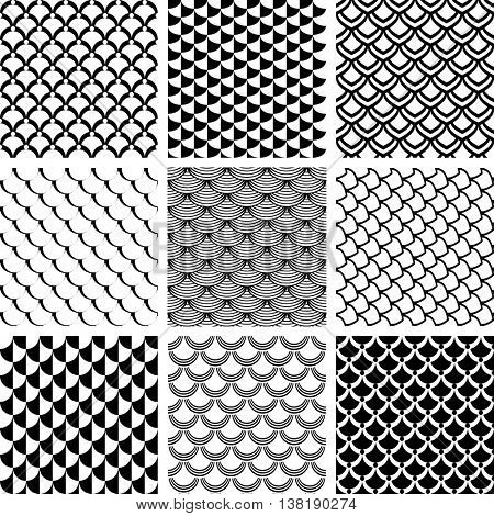 Seamless patterns set with fish scale motif. Vector art.
