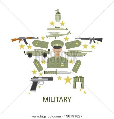 Army star composition with officer in center shoulder straps military vehicles ammunition and inscription vector illustration
