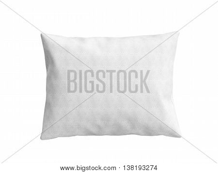Close Up Of A Clasic White Pillow 3D Illustration On White Background