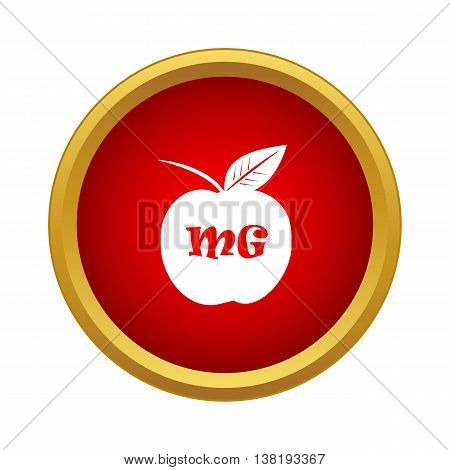 Apple with theory of relativity formula icon in simple style in red circle