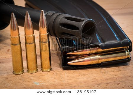 AR 15 Ammunition in Magazine 300 AAC Flash Suppressor