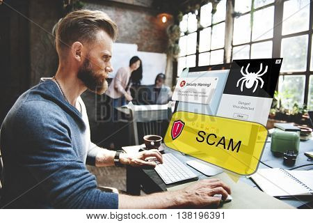 Scam Warning Hacker Device Security Concept