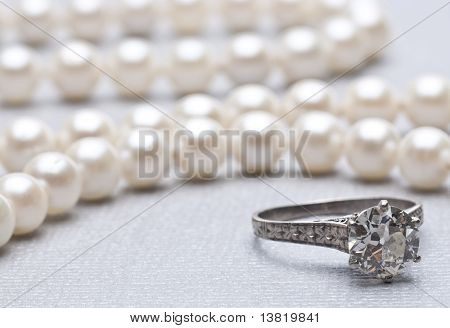 Antique Wedding Ring And Pearls