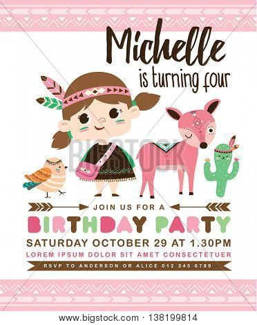 Kids birthday party invitation card with cute little girl with friends