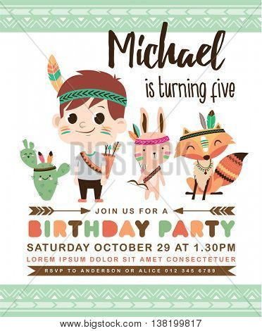 Kids birthday party invitation card with cute little boy with friends