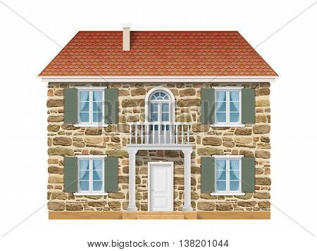 Old country house with a stone wall, white windows and balcony. Traditional facade of the European house. Vector detailed architectural illustration.