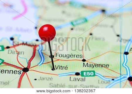 Vitre pinned on a map of France