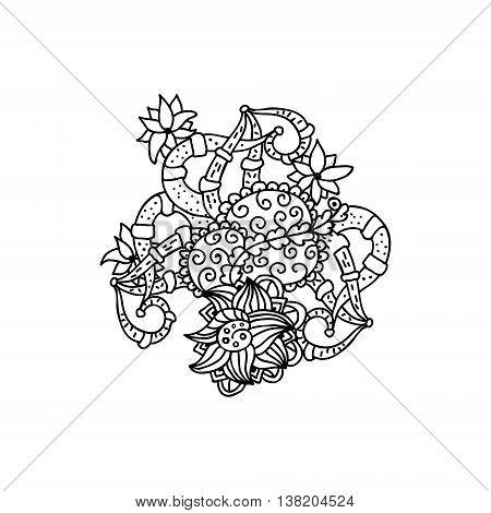 Mono color black line art element for adult coloring book page design.Floral collection.