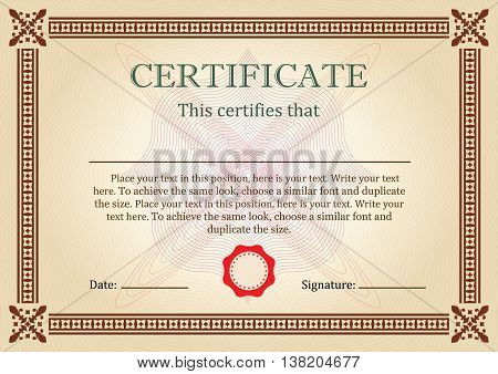 Certificate or Diploma of completion design template with ornamental frame or border. Vector illustration of Certificate of Achievement, coupon, award, winner certificate.