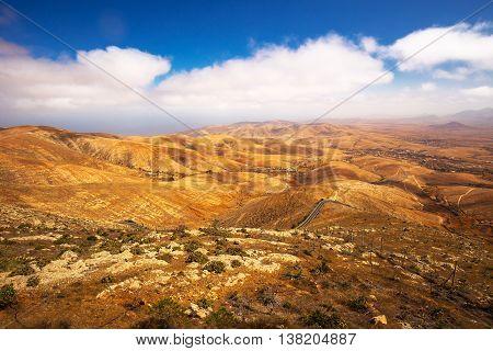 Beautiful view to vulcanic landscape of Fuerteventura Island from Morro Velosa view point near Betancuria village.