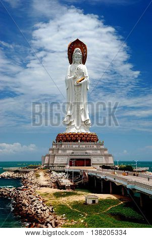 San Ya, Hainan, China: Set on a small man-made island in the sea the 108 meters high Bodhisattva Guan Yin Chinese Buddhist Goddess of mercy is the 4th largest statue in the world *