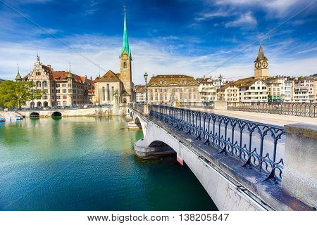 View of historic Zurich city center with famous Fraumunster Church Limmat river and Zurich lake