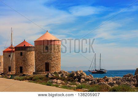 Mandraki Harbour windmills on the Island of Rhodes Greece.