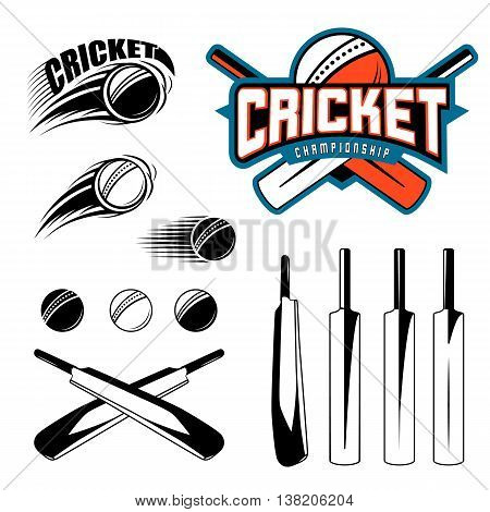 Set of cricket sports template logo elements - ball, bat. Use as icons, badges, label designs or print. Vector illustration of cricket championship