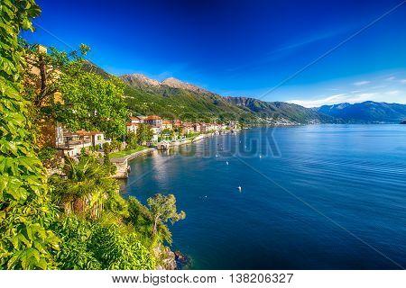 Sunrise In Cannero Riviera Village, Lage Maggiore, Verbania, Piedmont, Italy