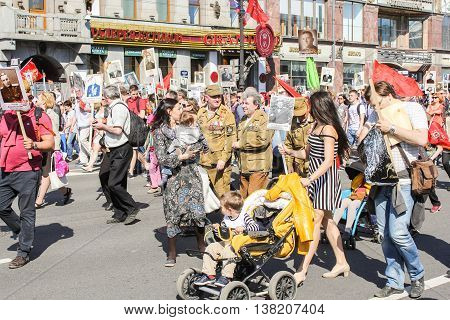 St. Petersburg, Russia - 9 May, Men, women and children as part of the immortal regiment, 9 May, 2016. Memory Action