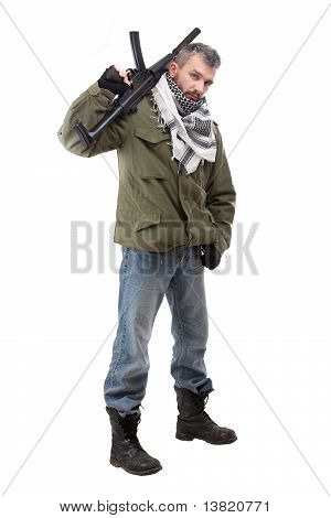 Terrorist with rifle isolated on white background poster