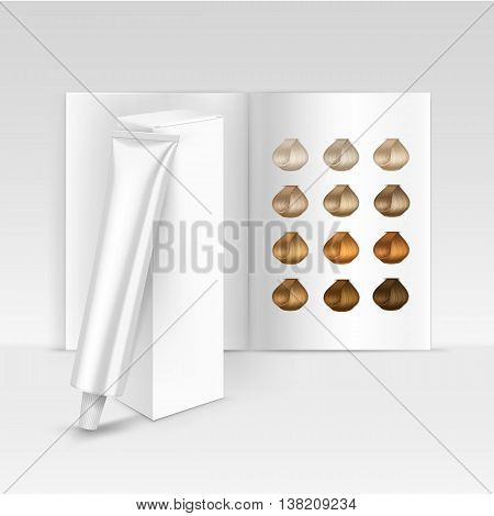 Vector Hair Color Dye Shampoo Balsam Balm Mask Packaging Packing Pack Box with Palette Catalog Isolated on Background